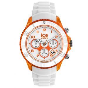 Ice Watch Chrono Party XL λευκό λουρί καουτσούκ πορτοκαλί
